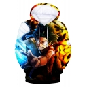 Cool 3D Comic Character Printed Pullover Drawstring Hoodie