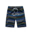 Mens Summer Fashion Tribal Print Striped Pattern Drawstring Waist Quick Dry Casual Beach Swim Trunks