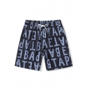 Fashion Big and Tall Navy Letter Stretch Quick Dry Unisex Swim Trunks Shorts with Drawcord and Pockets