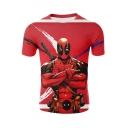 Deadpool 3D Comic Figure Print Short Sleeve Unisex Red T-Shirt