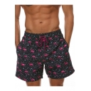 Fashion Allover Flamingo Printed Drawstring-Waist Fast Drying Black Swim Trunks for Men