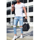 Guys Light Blue Basic Fashion Knee Cut Distressed Slim Cropped Ripped Jeans