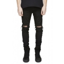 Kanye Street Hip Hop Style Knee Cut Distressed Stretch Fitted Jeans for Men