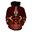 Unique Creative Bull Skull Printed Long Sleeve Loose Casual Sport Red Hoodie