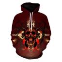 Unique Creative Bull Skull Printed Long Sleeve Loose Casual Sport Red Hoodie