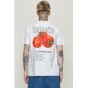 Street Fashion Tomato Letter Printed Mens Oversized Short Sleeve Graphic T-Shirt