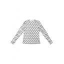 New Stylish Allover Moon Printed Round Neck Long Sleeve Slim Fit Basic T-Shirt for Women