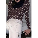 New Stylish Allover Moon Printed Long Sleeve Slim Fit Coffee T-Shirt with Mask