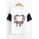 Summer Cute Cartoon Bear Printed Round Neck Short Sleeve Relaxed T-Shirt