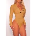Women's Sexy Button V-Neck Long Sleeve Simple Plain Slim Fit Bodysuit