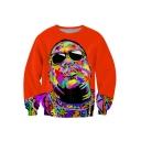 American Rapper Colorful Figure Painting Round Neck Long Sleeve Orange Sweatshirt