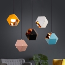 Post Modern Faceted Pendant Lamp Metallic 1 Head Decorative Hanging Ceiling Lamp for Coffee Shop
