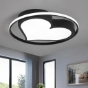 Black/White Loving Heart Flush Light Fixture with Ring Modern Chic Acrylic LED Flushmount for Restaurant