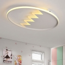 Children Room Zigzag Design Lighting Fixture Nordic Style Acrylic LED Flush Mount in Black/White