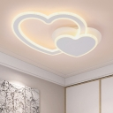 Lovely Heart Shape LED Ceiling Lamp White Acrylic Decorative Flush Light Fixture for Children Room