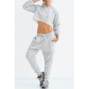 New Fashion Long Sleeve Cropped Hoodie Drawstring Waist Joggers Pants Simple Plain Sport Set for Women