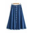Retro High Waist Simple Plain Button Down Fringed Hem Midi A-Line Denim Blue Skirt