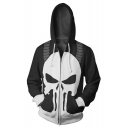 Cool 3D Skull Pattern Long Sleeve Zip Up Black Casual Hoodie