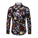 Hip Hop Style Fashion Allover Poker Printed Men's Long Sleeve Black Slim Fit Shirt