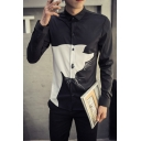 Unique Cool Cat Printed Basic Long Sleeve Fitted Button-Up Shirt for Men