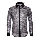 Cool Shiny Sequin Glitter Night Club Sexy See-Through Men's Slim Fit Silk Party Shirt