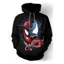 Cool Pattern Basic Casual Relaxed Long Sleeve Black Hoodie