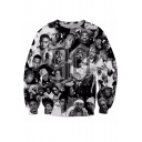 Hip Hop American Rapper Cool 3D Portrait Printed Round Neck Pullover Black Sweatshirt