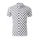 Men's Fashion Classic Polka-Dot Printed Loose Fitted Short Sleeve White Cotton Shirt