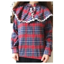 Chic Tartan Plaids High Neck Long Sleeves Loose Lace Trimmed Bow Neck Loose Blouse