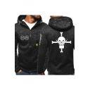 Comic Printed Men's Heather Color Full Zip Fitted Sport Hoodie