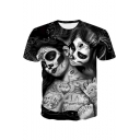 Cool 3D Mask Beauty Pattern Mens Round Neck Short Sleeve Casual Black T-Shirt