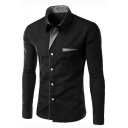 Cool Unique Plaid Patched Collar Long Sleeve Mens Fitted Button-Up Shirt