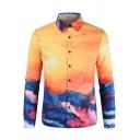 Summer Fashion 3D Landscape Printed Long Sleeve Silk Cotton Button-Up Yellow Shirt for Men