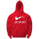 JUST BREAK IT Logo Printed Long Sleeve Loose Casual Hoodie