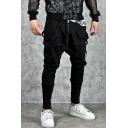 Mens Cool Plain Zip-Embellished Front Drawstring Waist Ribbon Patched Black Harem Pants
