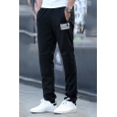 Mens New Trendy Simple Stripe Pocket Drawstring Waist Fitted Sweatpants