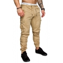 Mens Basic Simple Plain Drawstring Waist Flap Pocket Side Skinny Pencil Pants Cargo Pants