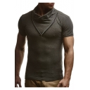Mens Unique V Zip Embellished Stand-Collar Short Sleeve Plain Fitted T-Shirt