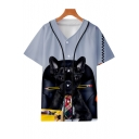 Cool French Dog 3D Printed Short Sleeve Button-Down Loose Fit Baseball Shirt