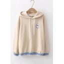 Simple Letter Baseball Embroidered Stripe Hem Long Sleeve Relaxed Fit Khaki Hoodie
