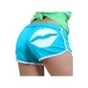 Hot Fashion Sexy Lip Print Back Elastic Waist Womens Sport Casual Shorts