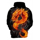 Cool 3D Fire Dragon Skull Printed Long Sleeve Loose Casual Black Hoodie