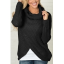 Turtleneck Button Embellished Long Sleeve Plain Asymmetric Hem Sweater
