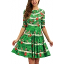 Ladies Half Sleeve Green Mid Length A-Line Pleated Dress