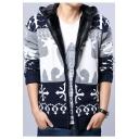 Men's Winter Fashion Colorblock Deer Printed Long Sleeve Hooded Zip Closure Fleece Cardigan