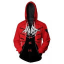 Persona Game Cosplay Costume Trendy Long Sleeve Zip Up Red Hoodie