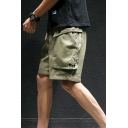 Guys Summer New Stylish Simple Plain Drawstring Waist Casual Loose Cargo Shorts
