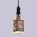 Industrial Pendant Light Whiskey Bottle Repurposed, Jack Daniels