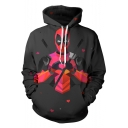 New Fashion Colorful Comic Figure Print Long Sleeve Loose Fit Black Hoodie
