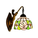 1 Light Rose Pattern Wall Sconce with Mermaid Tiffany Stained Glass Wall Lamp in Antique Brass